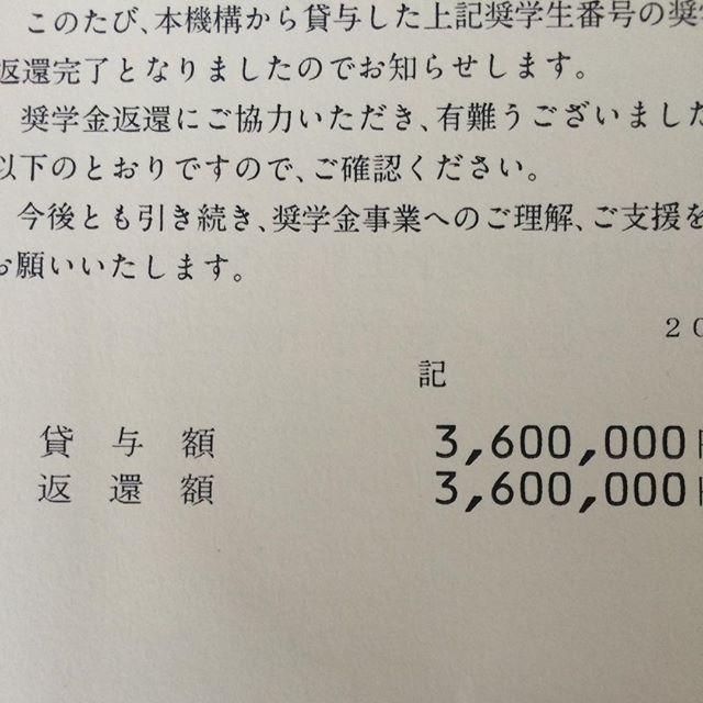 そーいえば、学生時代に借りた360万円を一括繰り上げ償還で完済したら返還完了賞が届いた。360万円は全て読書代として消えていったけど、そこで培った知識をいまこうやって換金しながら生きているんだよ、とでも言っておこう。ま、学生時代に借りたお金なんてたった360万円どころじゃないんだけどね。その倍以上は確実に借りていたし、その額も卒業と同時に或いは卒業前に全部返したぜ。自己投資はもっともリターンのいい投資って言われるけど、それを体現している人は少ないよね。してても自己投資とのリターンの因果関係は見えにくいわね。だいたい巻いた種は2、3年スパンで収穫していかなきゃ