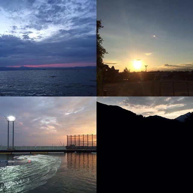 鮎喰で撮った夕焼けも丸亀競艇場で撮った夕焼けも大歩危で撮った夕焼けも、そして琵琶湖で撮っている夕焼けも、全部僕の中では夕焼け百選だぜ。この夕陽の輝度で、琵琶湖の水音とともに、風を感じながら、は確実に僕がここにいるからだ。人聞きではない、ましてやネットではない、ここにいるから。僕ら夫婦はこのリアリティを信頼して、このリアリティを大切に生きている。
