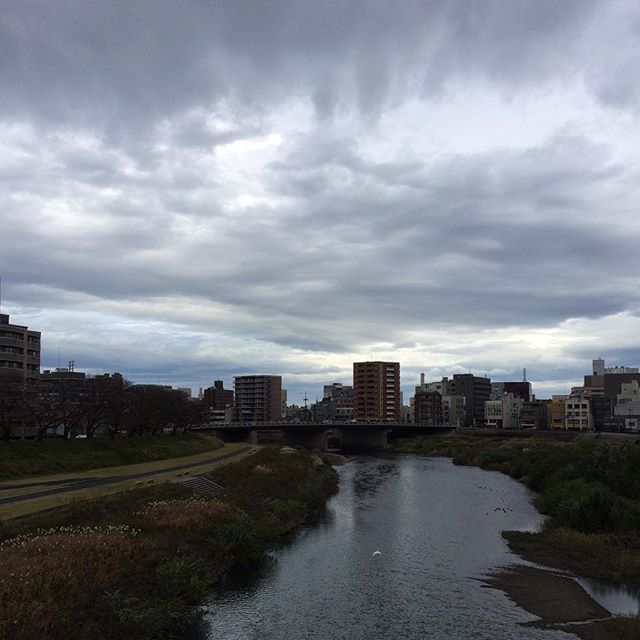 犀川からの風景に似ているけどやっぱり空がドンよりしている。僕らはこんな感じがリラックスできて好きなんやけど。