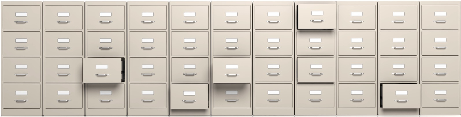 Filing cabinets and open drawers 3d illustration P5PUV4A