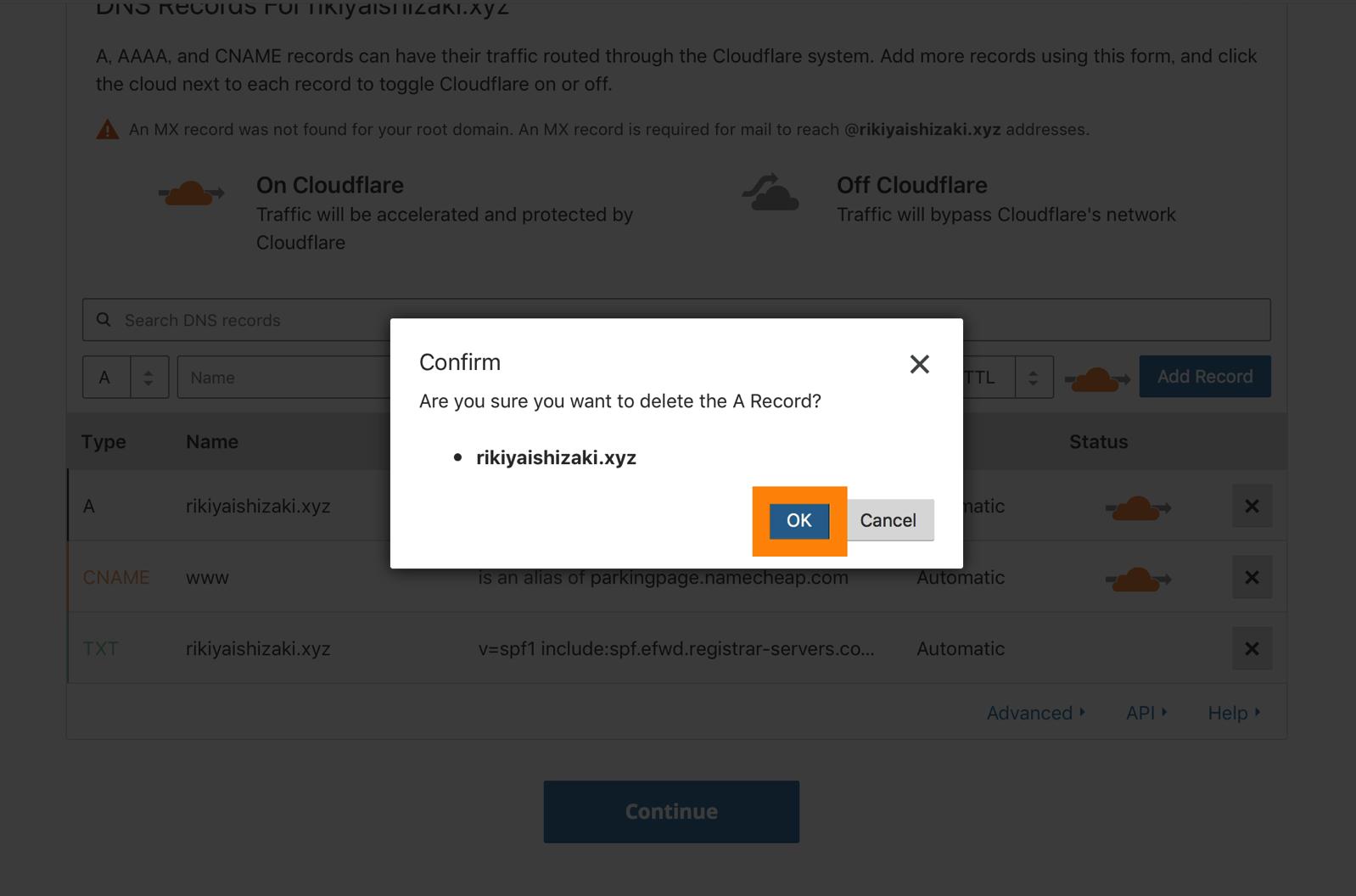 05 CLOUDFLAREで既存のDNSレコードを削除する